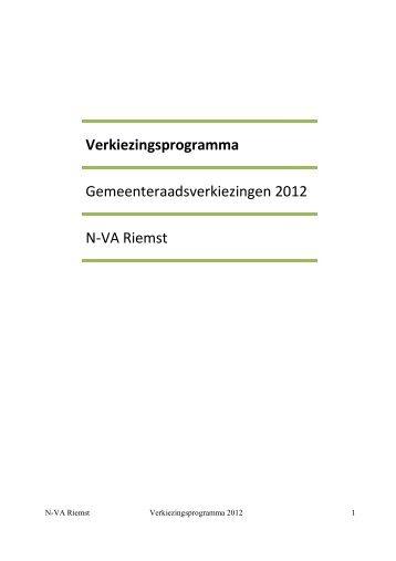 Verkiezingsprogramma 2012 - N-VA Riemst