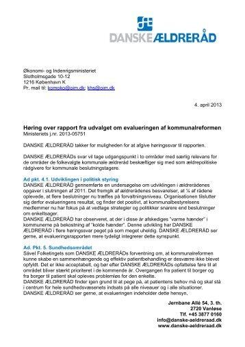 Danske Ældreråd - Økonomi- og Indenrigsministeriet