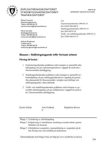 Tjänsteutlåtande - Knutpunkt Slussen