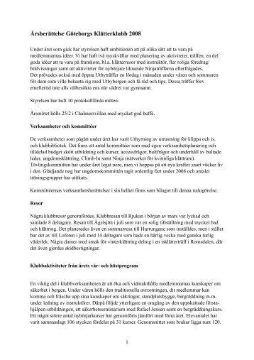 Årsberättelse 2008 (uppdaterad) - Göteborgs klätterklubb