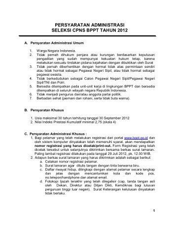 Persyaratan Administrasi Seleksi CPNS BPPT 2012 - Menjadi Lebih ...