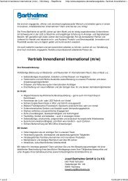 Vertrieb Innendienst international (m/w) - Barthelme Gmbh & Co. KG