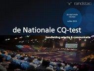 De Nationale CQ-test presentatie selectie en communicatie 0912