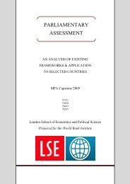 Parliamentary Assessment: An Analysis of ... - World Bank Institute