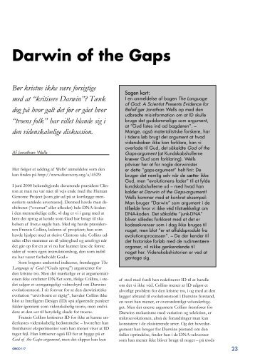 Darwin of the Gaps - Skabelse.dk