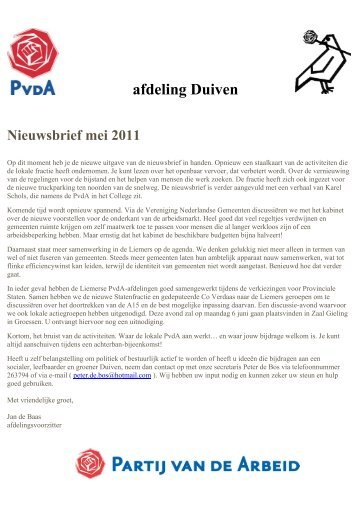 afdeling Duiven Nieuwsbrief mei 2011