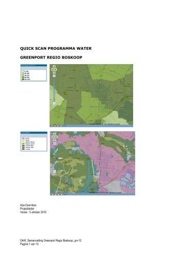 Quickscan Programma Water Greenport regio Boskoop - LTO Noord