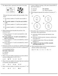 1. The diagram below represents the nucleus of an atom. A) The ...
