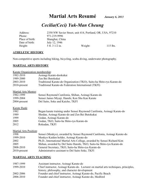 Martial Arts Resume (Updated January 6, 2013)   Traditional Karate