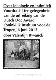 Over ideologie en intimiteit Voordracht ter gelegenheid ... - Dutch Doc