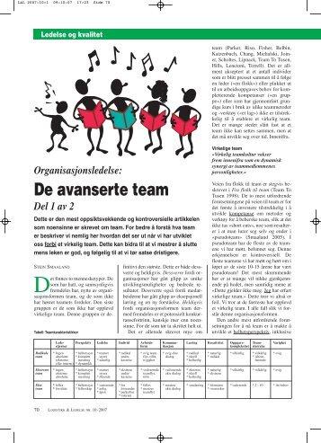 De avanserte team – del 1 - SYS gruppen