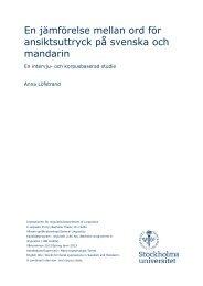En jämförelse mellan ord för ansiktsuttryck på svenska och mandarin