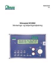 Klimastat KC2002 Monterings- og ... - Clorius Controls
