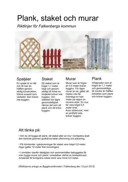 Wandplank 1 Meter.Regler For Plank Staket Och Murar Falkenbergs Kommun