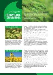 Egenskaper för förnybara drivmedel - SEKAB