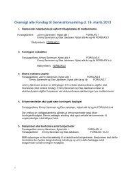 Oversigt alle Forslag til Generalforsamling d. 19. marts 2013