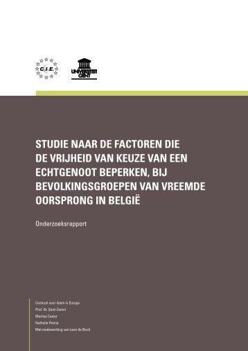 STUDIE NAAR DE FACTOREN DIE DE VRIJHEID VAN ... - igvm