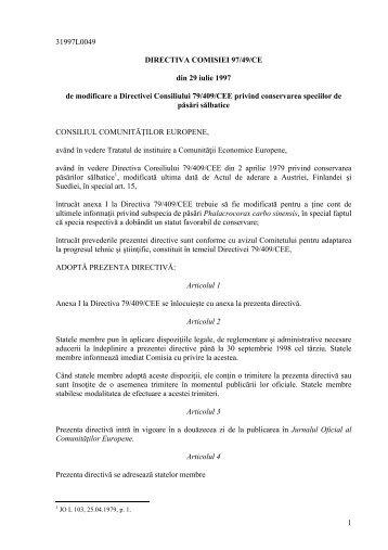 1 31997L0049 DIRECTIVA COMISIEI 97/49/CE din 29 iulie ... - AGVPS