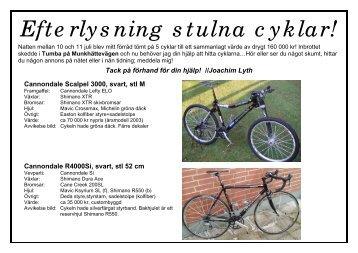 Efterlysning stulna cyklar!