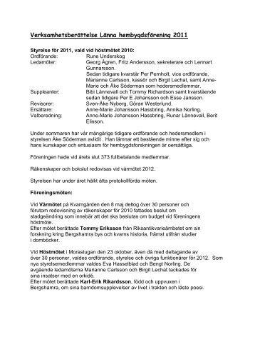Verksamhetsberättelse Länna hembygdsförening 2011