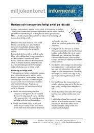 Hantera och transportera farligt avfall på rätt sätt - Uppsala kommun