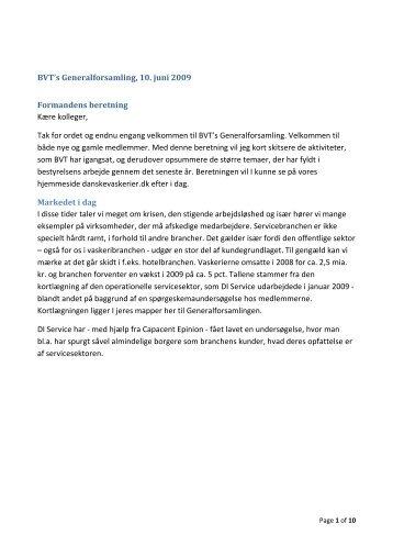 BVT's Generalforsamling, 10. juni 2009 Formandens beretning ...