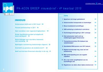 IPA-ACON Nieuwsbrief 4e kwartaal 2010 - IPA-ACON Groep