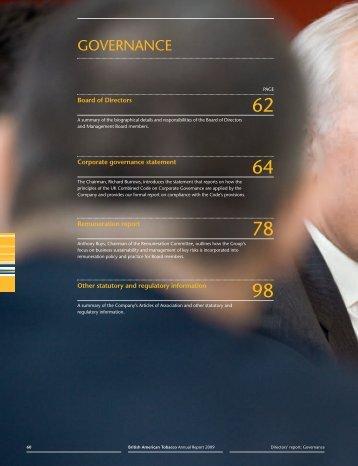 Directors' Report: Governance - British American Tobacco