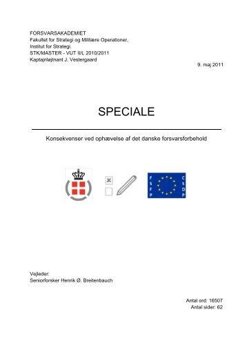 Konsekvenser ved oph velse af det danske forsvarsforbehold