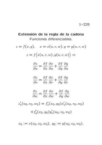 1–228 Extensión de la regla de la cadena Funciones diferenciables ...