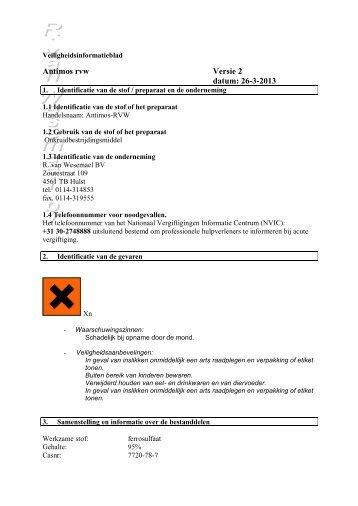 antimos-rvw veiligheidsinformatieblad - R. van Wesemael BV