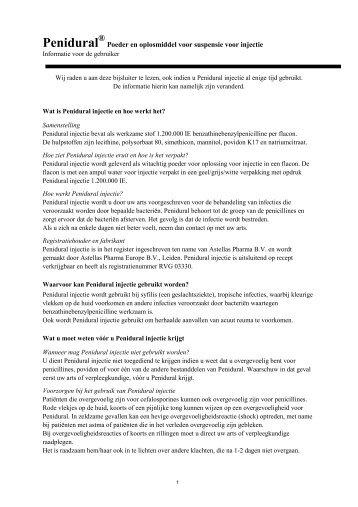 Bijsluiter Penidural - Astellas