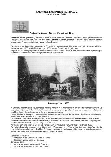 De familie Gerard Deuss, Kerkstraat, Born - Limburg Emigrant Page
