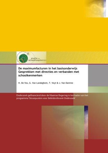 De Vos, H., Van Landeghem, G., Veyt, T. & Van Damme, J. (2011)
