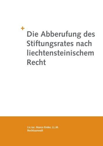 Die Abberufung des Stiftungsrates nach liechtensteinischem Recht