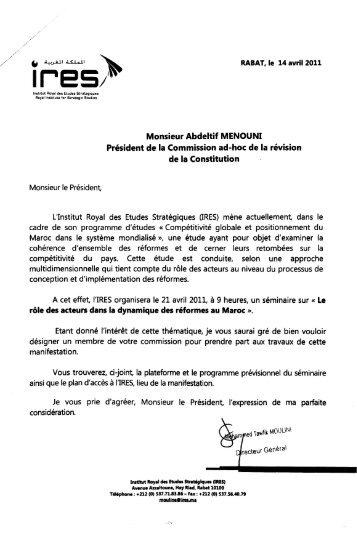 Monsieur Abdeltif MENOUNI Président de la Commission ad-hoc de ...