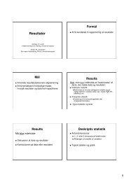 Resultatafsnittet og præsentation af data - Praktisk evidens