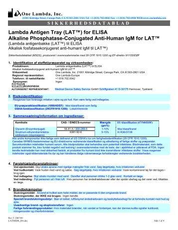 Lambda Antigen Tray (LAT™) for ELISA Alkaline ... - One Lambda