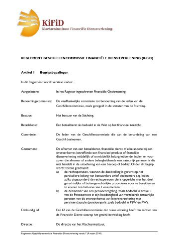 Reglement Geschillencommissie - Kifid