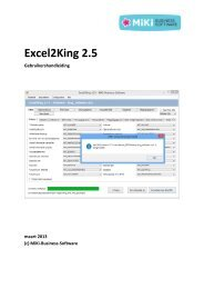 Excel2King handleiding - MiKi-Business-Software