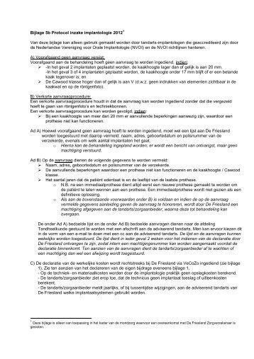 Bijlage 5b Protocol inzake implantologie 2012 - De Friesland ...