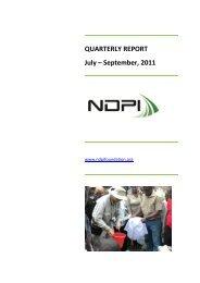 QUARTERLY REPORT July – September, 2011 - NDPI Foundation