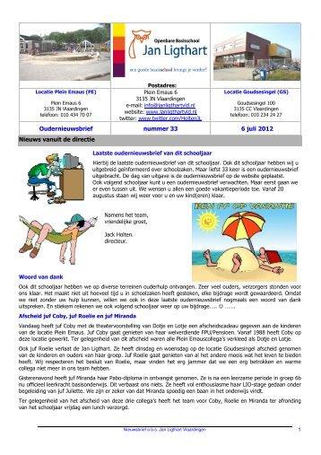 Oudernieuwsbrief nummer 33 6 juli 2012 Nieuws vanuit de directie