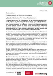 """""""Cleantech Switzerland Tag"""" an der Expo 2010 in - Osec"""