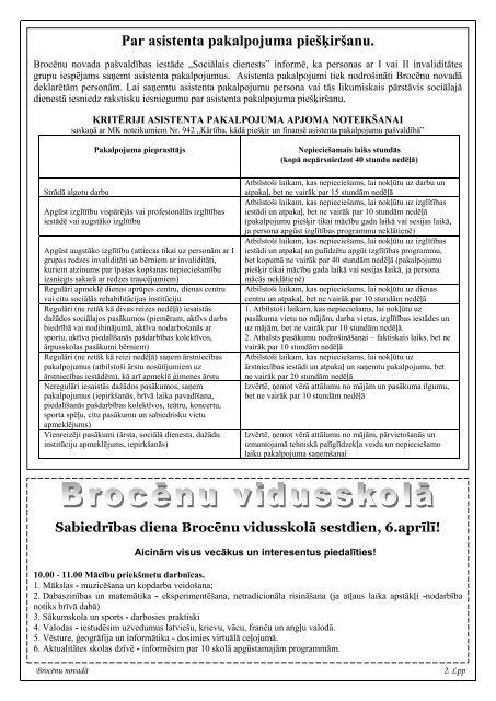 Brocēnu Novadā (7 lpp.) - Jaunumi Brocēnu novadā