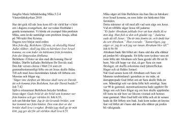Jungfru Marie bebådelsedag Mika 5:2-4 ... - Erik Holmlund