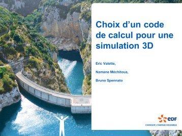 Choix d'un code de calcul pour une simulation 3D - SimHydro