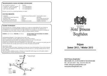 Prijzen Zomer 2012 / Winter 2013 - Princess Bergfrieden