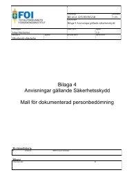 Bilaga 4 Anvisningar gällande Säkerhetsskydd Mall för ... - FOI