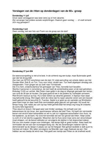 Verslagen van de ritten op donderdagen van de ... - WTC Oosterhout